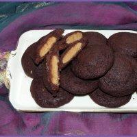 Vegane Schokoladen-Kissen gefüllt mit Erdnussbutter