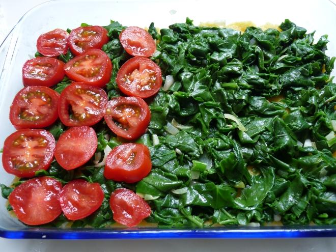 Tomaten auf Spinat