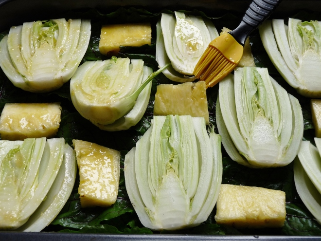 Gemüse einpinseln