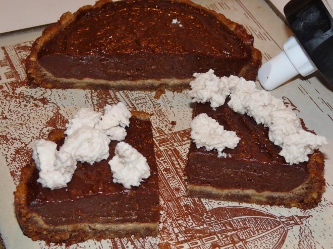geteilter Pie und Spritze