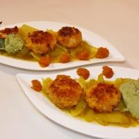 Unsere Besten:  Weiße Bohnen-Bällchen mit Curry-Zwiebeln und Dicke Bohnen-Püree