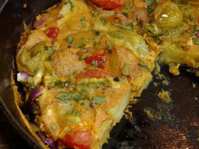 angeschnittene tortilla