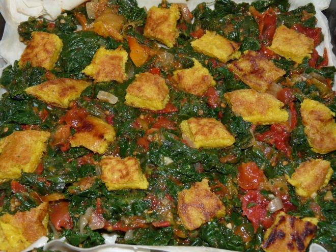 Gemüse auf Teig