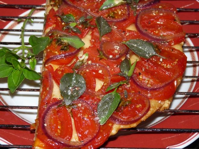 Pizzastück auf Rost